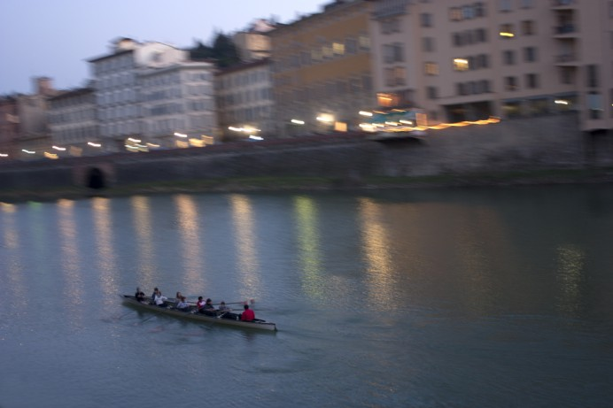 Rowers at dusk